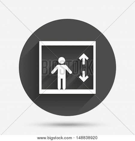 Elevator sign icon. Person symbol with up and down arrows. Circle flat button with shadow. Vector