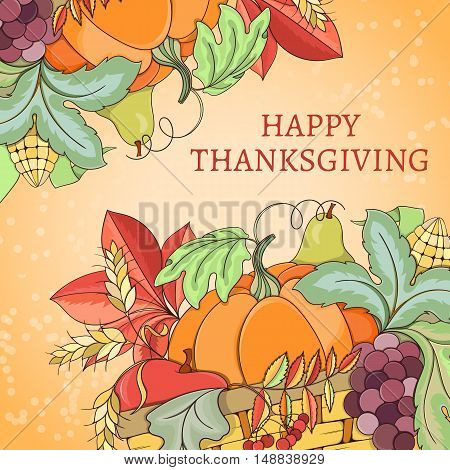 Thanksgiving card can be used for can be used for holiday cards, invitation, postcard or website. Autumn bright flyer. Holiday design of pumpkin, apple, pie, corn, hat, grapes, acorn