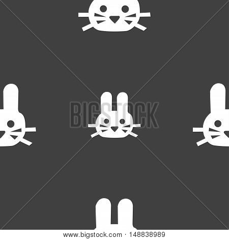 Rabbit Icon Sign. Seamless Pattern On A Gray Background. Vector