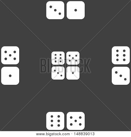 Dices Icon Sign. Seamless Pattern On A Gray Background. Vector