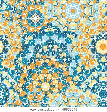 Seamless colorful ethnic pattern with mandalas in oriental style. Round doilies with blue, orange, yellow curls and swirls weaving in arabesque traditional lace ornament. Vector illustration