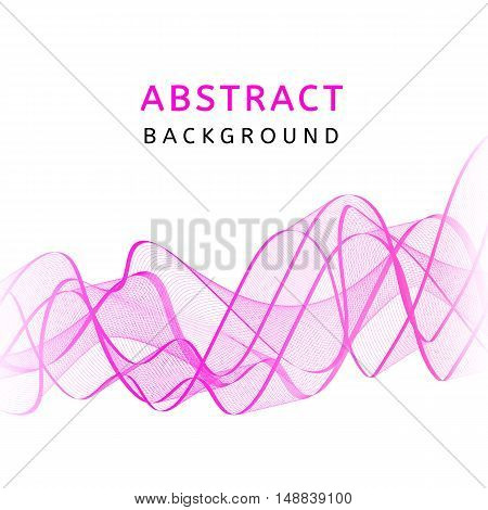 Abstract smooth transparent colorful wavy background. Curved pink flow motion. Smoke gradient waves design with stripes. Vector illustration