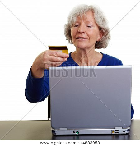 Old Woman Shopping Online