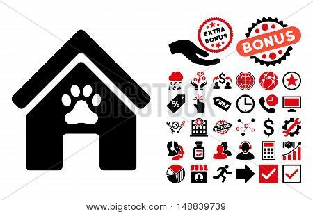Doghouse icon with bonus design elements. Vector illustration style is flat iconic bicolor symbols intensive red and black colors white background.