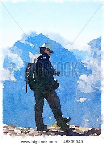 Digital watercolor painting of a man with a hat and a rucksack wearing boots at the top of a mountain with more peaks in the distance.