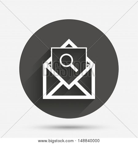 Mail search icon. Envelope symbol. Message sign. Mail navigation button. Circle flat button with shadow. Vector
