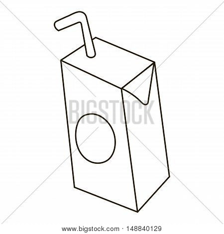 Children milk with straw icon in outline style isolated on white background. Drink symbol vector illustration