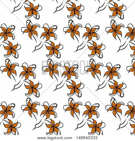 Floral Seamless Pattern. Vector seamless pattern with lily flowers on white background.
