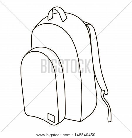 School backpack icon in outline style isolated on white background. School supplies symbol vector illustration