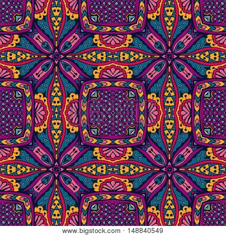 ethnic festive pattern for fabric. Intricate geometric colorful doodle seamless pattern ornamental.