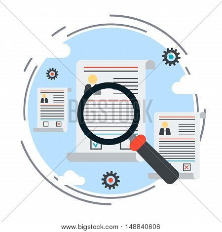 Resume analyzing, employment issue, staff search, personnel management, job search, recruitment flat design style vector concept illustration