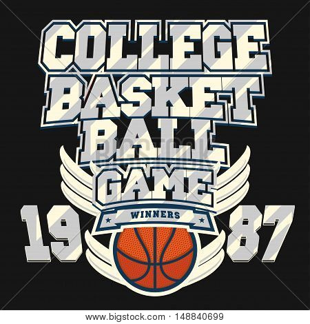 Basketball t-shirt graphic design. Streetball team typography emblem, Print for sportswear apparel. vector