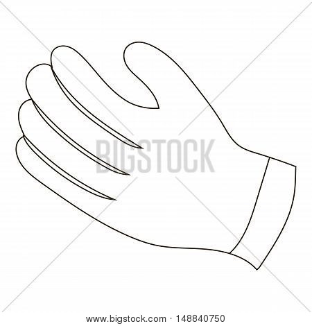 Winter gloves icon in outline style isolated on white background. Accessory symbol vector illustration