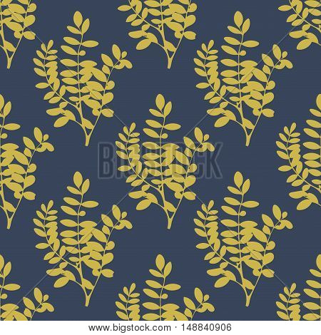 Realistic green and navy blue floral background. Tree leaves and branches seamless pattern. Vector illustration.