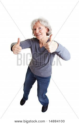 Happy Old Woman Holding Thumbs Up