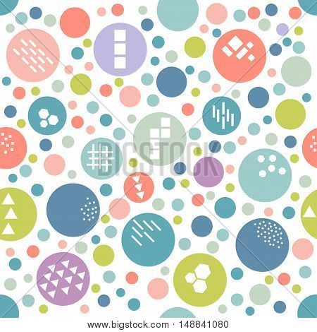 Textured circle festive colorful seamless pattern. Geometric dotted wallpaper. Random polka dot background. Pink blue green orange violet circles on white. Spotted seamless pattern. Vector.