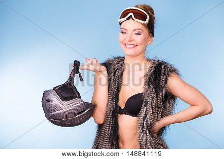 Beautiful Girl With Goggle And Helmet.