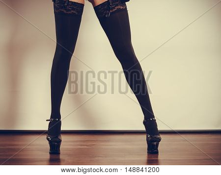 Sexy Long Female Legs In Black.
