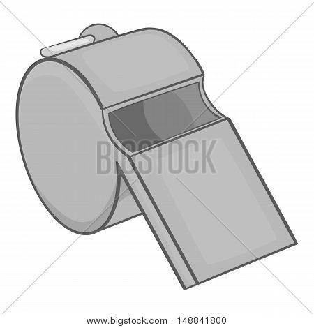 Whistle icon in black monochrome style isolated on white background. Sport symbol vector illustration