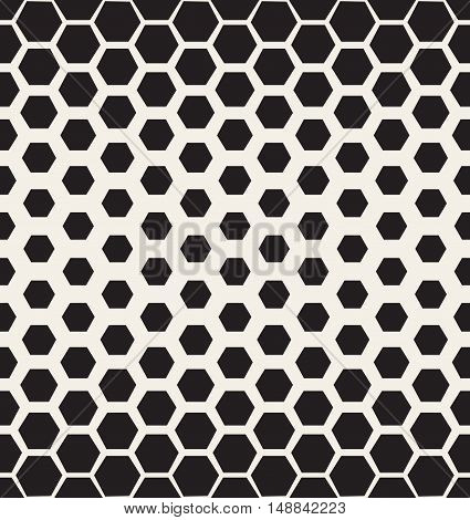 Vector Seamless Black and White Halftone Hexagonal Grid Pattern. Abstract Geometric Background Design