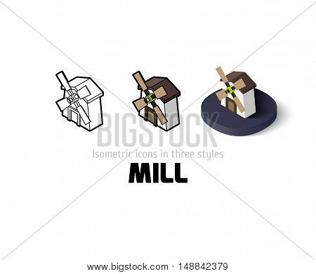 Mill icon, vector symbol in flat, outline and isometric style