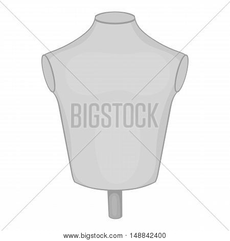 Sewing mannequin icon in black monochrome style isolated on white background. Trying on clothes symbol vector illustration