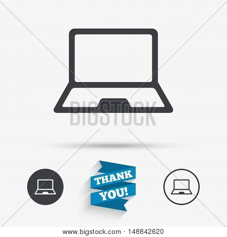 Laptop sign icon. Notebook pc symbol. Flat icons. Buttons with icons. Thank you ribbon. Vector