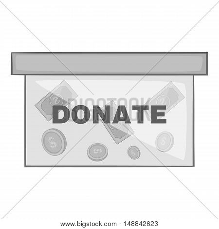 Box for donations icon in black monochrome style isolated on white background. Charity symbol vector illustration
