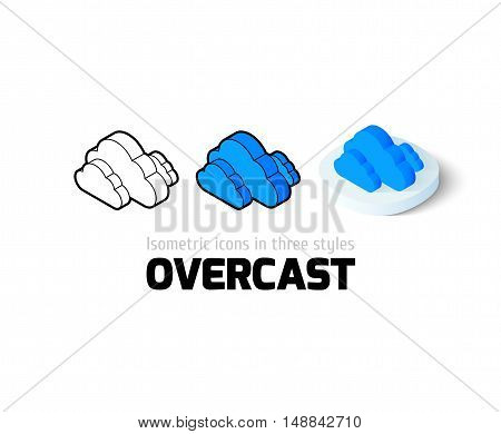 Overcast icon, vector symbol in flat, outline and isometric style