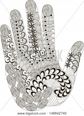 Zentangl palm, thin black line on white, coloring page anti stress, vector illustration