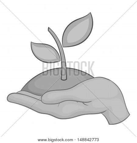 Hand holding sprout icon in black monochrome style isolated on white background. Ecology symbol vector illustration
