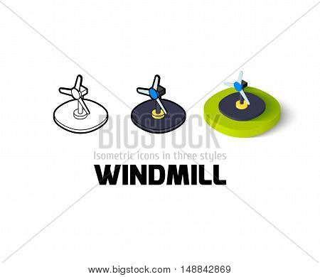 Windmill icon, vector symbol in flat, outline and isometric style