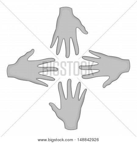 Helping hands icon in black monochrome style isolated on white background. Charity symbol vector illustration