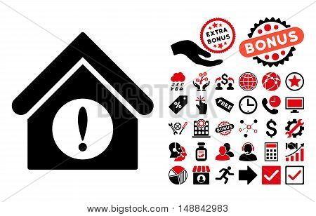 Exclamation Building icon with bonus elements. Vector illustration style is flat iconic bicolor symbols, intensive red and black colors, white background.