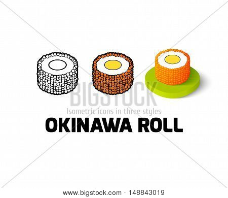Okinawa roll icon, vector symbol in flat, outline and isometric style