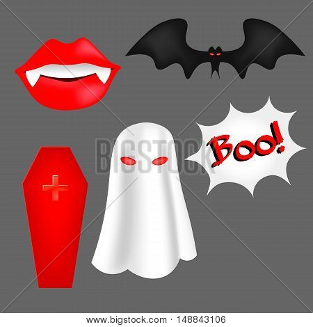 Vector Set Of Cartoon Objects For Halloween.