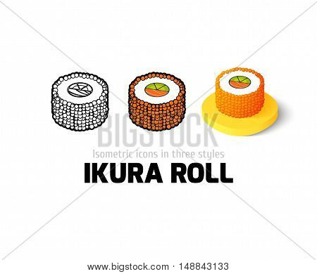 Ikura roll icon, vector symbol in flat, outline and isometric style