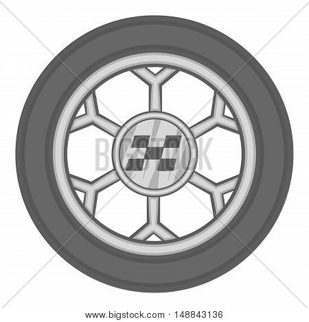 Wheel from racing car icon in black monochrome style isolated on white background. Sport equipment symbol vector illustration