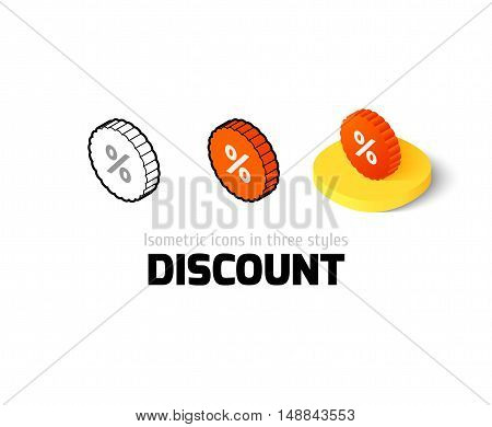 Discount icon, vector symbol in flat, outline and isometric style