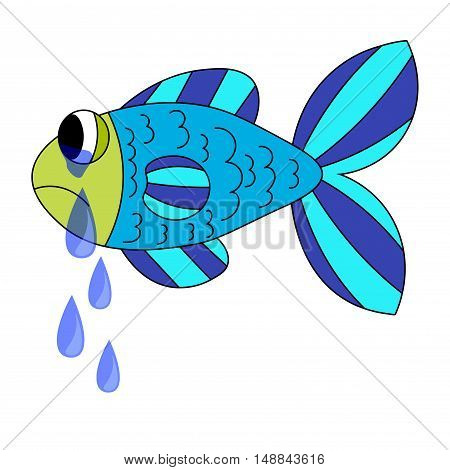 Crying cartoon fish. Dropping the tears from fish's eyes. Sad blue and green fish isolated on white background. Vector illustration.