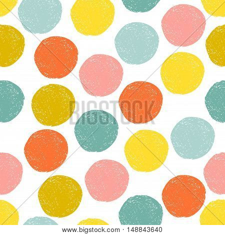 Colorful cute yellow, pink, blue, orange random grunge polka dot, seamless pattern. Sketch circle on white background. Abstract round seamless, wallpaper. Vector illustration.