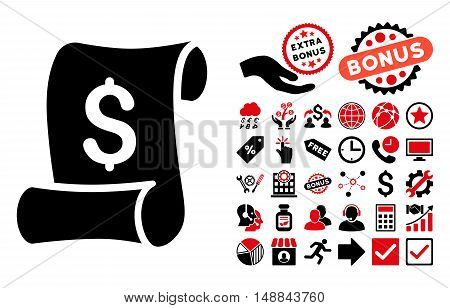 Financial Receipt Roll icon with bonus pictograph collection. Vector illustration style is flat iconic bicolor symbols, intensive red and black colors, white background.