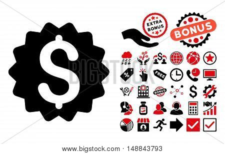 Financial Reward Seal icon with bonus clip art. Vector illustration style is flat iconic bicolor symbols, intensive red and black colors, white background.
