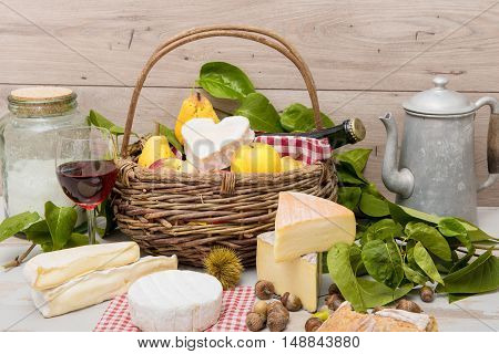 french cheeses with a basket of different fruits