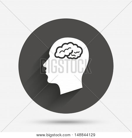 Head with brain sign icon. Male human head think symbol. Circle flat button with shadow. Vector