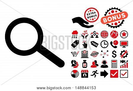Find pictograph with bonus pictograph collection. Vector illustration style is flat iconic bicolor symbols intensive red and black colors white background.