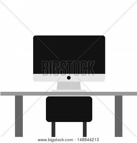 A Modern Lcd Monitor On The Desk, Work Space ,