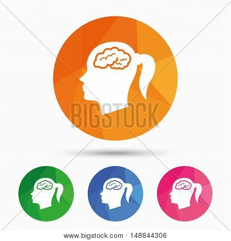 Head with brain sign icon. Female woman human head think symbol. Triangular low poly button with flat icon. Vector