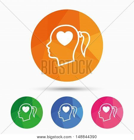 Head with heart sign icon. Female woman human head in love with pigtail symbol. Triangular low poly button with flat icon. Vector