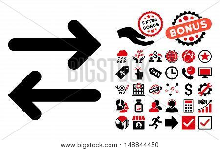 Flip Horizontal icon with bonus pictograph collection. Vector illustration style is flat iconic bicolor symbols intensive red and black colors white background.